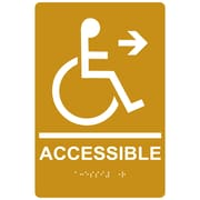 "ComplianceSigns 9"" x 6"" Acrylic ADA Accessibility Sign, English + Braille, Gold (RRE-14756-WHTonGLD-AC-9x6)"