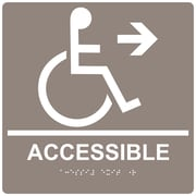 "ComplianceSigns 9"" x 9"" Acrylic ADA Accessibility Sign, English + Braille, Taupe (RRE-14756-99-WHTonTaupe-AC-9SQR)"