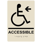 "ComplianceSigns 9"" x 6"" Acrylic ADA Accessibility Sign, English + Braille, Almond (RRE-14757-BLKonAlmond-AC-9x6)"
