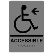 "ComplianceSigns 9"" x 6"" Acrylic ADA Accessibility Sign, English + Braille, Gray (RRE-14757-BLKonGray-AC-9x6)"