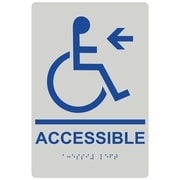 "ComplianceSigns 9"" x 6"" Acrylic ADA Accessibility Sign, English + Braille, Pearl Gray (RRE-14757-BLUonPRLGY-AC-9x6)"