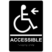 "ComplianceSigns 9"" x 6"" Acrylic ADA Accessibility Sign, Tactile + Braille, Black (RRE-14757-WHTonBLK-AC-9x6)"