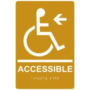"ComplianceSigns 9"" x 6"" Acrylic ADA Accessibility Sign, English + Braille, Gold (RRE-14757-WHTonGLD-AC-9x6)"