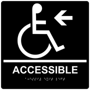 "ComplianceSigns 9"" x 9"" Acrylic ADA Accessibility Sign, English + Braille, Black (RRE-14757-99-WHTonBLK-AC-9SQR)"