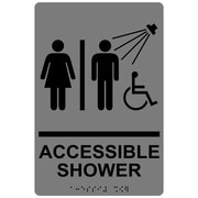 "ComplianceSigns 9"" x 6"" Acrylic ADA Accessibility Sign, English + Braille, Gray (RRE-14802-BLKonGray-AC-9x6)"