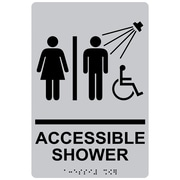 "ComplianceSigns 9"" x 6"" Acrylic ADA Accessibility Sign, English + Braille, Silver (RRE-14802-BLKonSLVR-AC-9x6)"