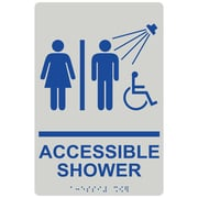 "ComplianceSigns 9"" x 6"" Acrylic ADA Accessibility Sign, English + Braille, Pearl Gray (RRE-14802-BLUonPRLGY-AC-9x6)"