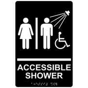 "ComplianceSigns 9"" x 6"" Acrylic ADA Accessibility Sign, English + Braille, Black (RRE-14802-WHTonBLK-AC-9x6)"