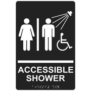 "ComplianceSigns 9"" x 6"" Acrylic ADA Accessibility Sign, English + Braille, Charcoal Gray (RRE-14802-WHTonCHGRY-AC-9x6)"