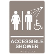"ComplianceSigns 9"" x 6"" Acrylic ADA Accessibility Sign, English + Braille, Taupe (RRE-14802-WHTonTaupe-AC-9x6)"
