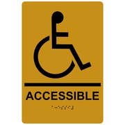 "ComplianceSigns 9"" x 6"" Acrylic ADA Accessibility Sign, English + Braille, Gold (RRE-190-BLKonGLD-AC-9x6)"
