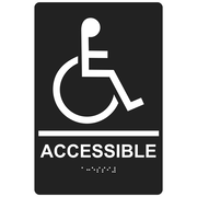"ComplianceSigns 9"" x 6"" Acrylic ADA Accessibility Sign, English + Braille, Charcoal Gray (RRE-190-WHTonCHGRY-AC-9x6)"