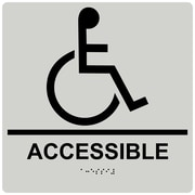 "ComplianceSigns 9"" x 9"" Acrylic ADA Accessibility Sign, English + Braille, Pearl Gray (RRE-190-99-BLKonPRLGY-AC-9SQR)"