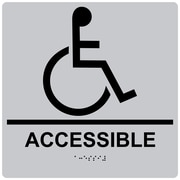 "ComplianceSigns 9"" x 9"" Acrylic ADA Accessibility Sign, English + Braille, Silver (RRE-190-99-BLKonSLVR-AC-9SQR)"