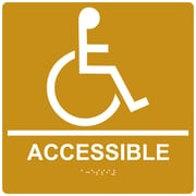 "ComplianceSigns 9"" x 9"" Acrylic ADA Accessibility Sign, English + Braille, Gold (RRE-190-99-WHTonGLD-AC-9SQR)"