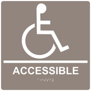 "ComplianceSigns 9"" x 9"" Acrylic ADA Accessibility Sign, English + Braille, Taupe (RRE-190-99-WHTonTaupe-AC-9SQR)"
