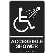 "ComplianceSigns 9"" x 6"" Acrylic ADA Accessibility Sign, English + Braille, Charcoal Gray (RRE-840-WHTonCHGRY-AC-9x6)"