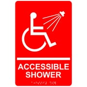 "ComplianceSigns 9"" x 6"" Acrylic ADA Accessibility Sign, English + Braille, Red (RRE-840-WHTonRed-AC-9x6)"