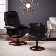 Lannica Faux Leather Swivel Recliner with Ottoman, Black (