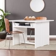 SEI Kempsey Convertible Console to Dining Table, White (DN2974)