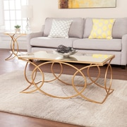 SEI Denise Geometric Cocktail Table with Mirrored Top, Gold (CK4840)