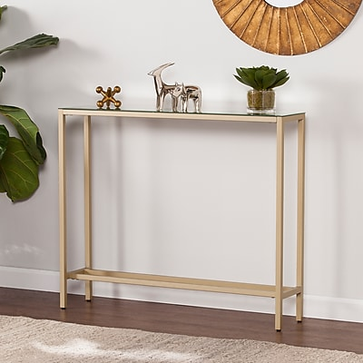 SEI Darrin Narrow Console Table with Mirrored Top, Gold (CM9297)