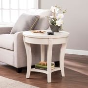 SEI Laverley Traditional Round End Table, Whitewash (CK0192)