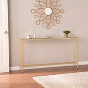 SEI Darrin Narrow Long Console Table with Mirrored Top, Gold (CM9296)
