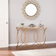 SEI Denise Geometric Console Table with Mirrored Top, Gold (CK4843)