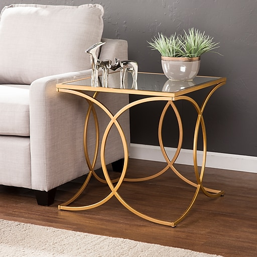 SEI Denise Geometric End Table with Mirrored Top, Gold (CK4842)