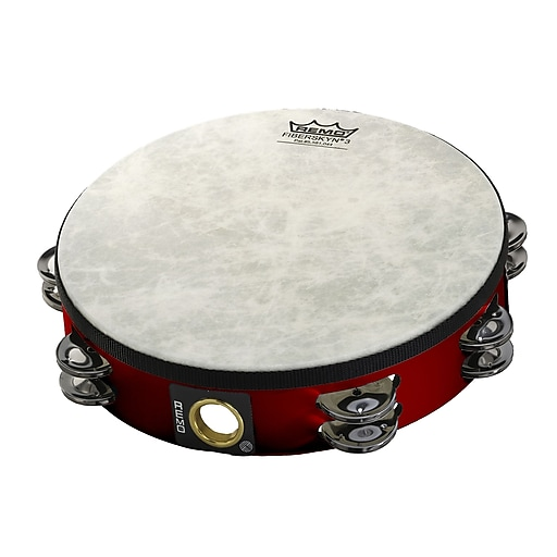 "Remo Fiberskyn Double Tambourine, 8"", Red"