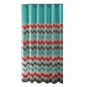 Bath Bliss Shower Curtain, Coral & Aqua Chevron Design (5392)