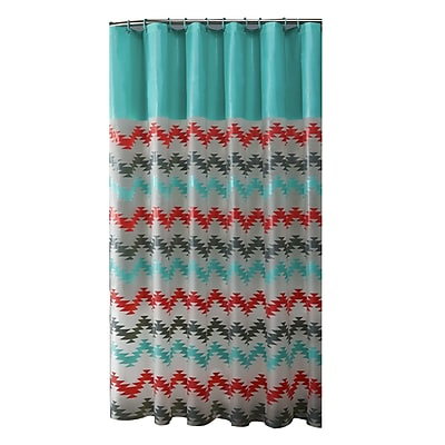 Bath Bliss Shower Curtain, Coral & Aqua Chevron Design (5392)