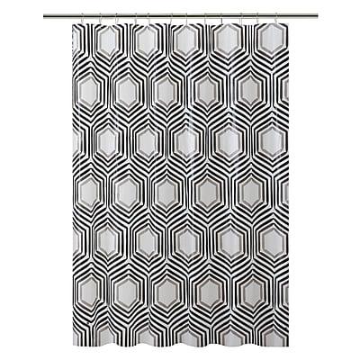 Bath Bliss Shower Curtain, Black & Clear Hexagon Design (5384)