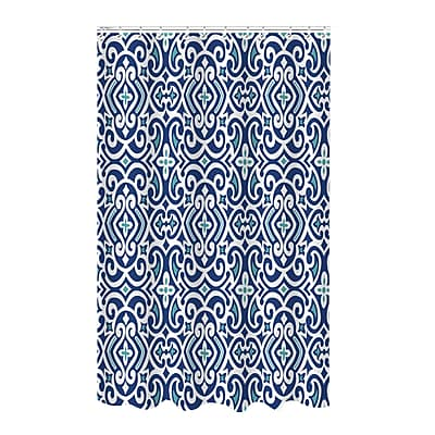 Bath Bliss Shower Curtain, Bamboo Jacquard, Royal Navy Design (25881)