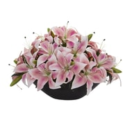 Nearly Natural Lily Centerpiece Artificial Floral Arrangement (1531-PK)
