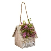 Nearly Natural Sedum and Eucalyptus Artificial Plant in Birdhouse Hanging Basket (6302)