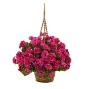 Nearly Natural Geranium Hanging Basket Artificial Plant UV Resistant (Indoor/Outdoor) (6421-BU)
