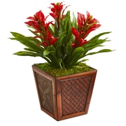 Nearly Natural Triple Bromeliad Artificial Plant in Decorative Planter (6476-RD)
