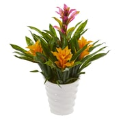 Nearly Natural Bromeliad Artificial Plant in White  Vase (6480-PY)