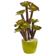 Nearly Natural Echeveria Succulent Artificial Plant in Green Ceramic Pot (6483)
