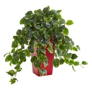 Nearly Natural Pothos Artificial Plant in Red Planter UV Resistant (Indoor/Outdoor) (6485)