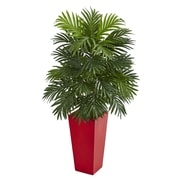 Nearly Natural Areca Palm Artificial Plant in Red Planter (6489)