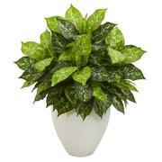 Nearly Natural Dieffenbachia Artificial Plant in White Planter (6493)