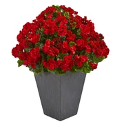 Nearly Natural Geranium Artificial Plant in Slate Plater UV Resistant (Indoor/Outdoor) (6499-RD)