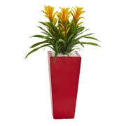 Nearly Natural Triple Bromeliad Artificial Plant in Red Planter (6503-YL)