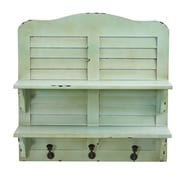 """Nearly Natural 2-shelf 20"""" Vintage Window Shutter Shelving with Hooks Wall Decor, Green (7034)"""