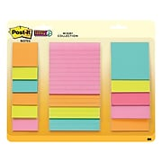 Post-it® Super Sticky Notes, Assorted Sizes, Miami Collection, Lined, 15 Pads/Pack (4423-15SSMIA)