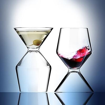 ASOBU Vino Tini Wine and Martini Glass 2-In-1 Design 8/15-Ounce - Clear (VT1)