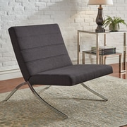 HomeBelle Dark Gray Linen Chair With Metal Leg (78692CDGL)